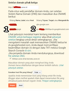 Pengaturan Domain Zone.id di Blogger