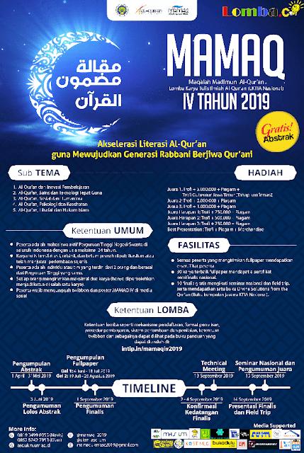 Lomba Karya Tulis Ilmiah Al-Quran Nasional MAMAQ 2019 Untuk Mahasiswa