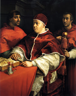 Pope Leo X, with cardinals Giulio de Medici  and Luigi de Rossi, in a portrait by Raphael