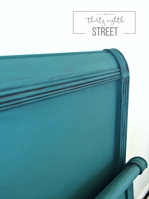 diy, layering effect, how to wash layers of paint, how to apply layers of paint, layering techniques using chalk paint, refinished headboard using chalk paint in aubusson blue and provence