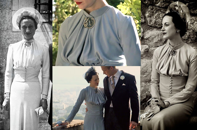 Fabulous Film Fashions W.E.  - Wallis - 'Wallis' Blue Crepe Dress - Replica Manbouchier
