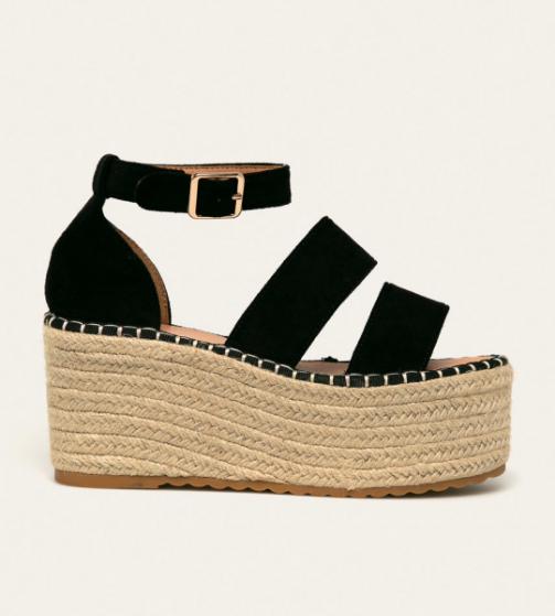 Platforme fete fashion la moda negre cu talpa groasa piele intoarsa eco
