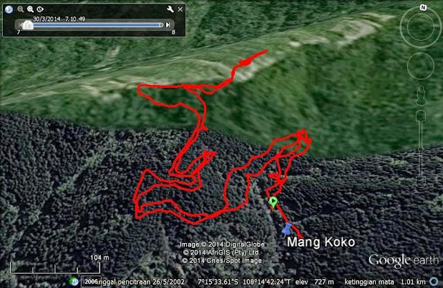 Screen capture Google Earth trek hiking di Jalur Pinus Negla (JPN)