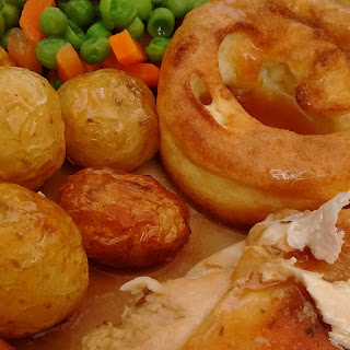 Chicken Roast with Vegetables and Yorkshire Pudding