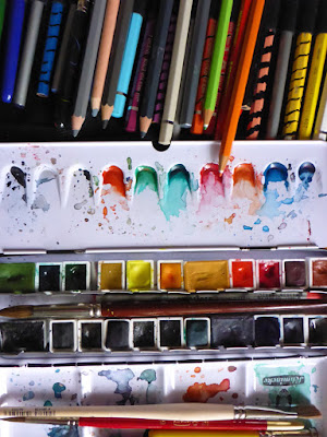 Bunte Aquarellfarben