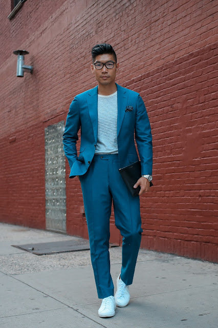 Men's Summer Style, Suit, Thom Browne Glasses, Common Project Sneakers, Hugo Boss, Menswear Levitate Style, Leo Chan