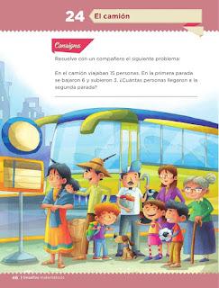 Apoyo Primaria Desafíos matemáticos 1er grado Bimestre 2 lección 24 El camión