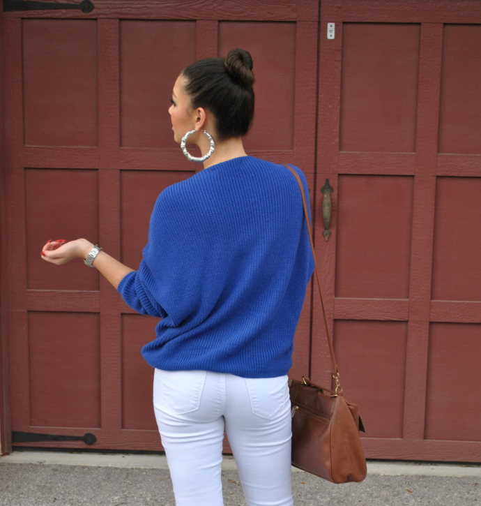 white skinny jeans outfit, brown flats outfit, Chicnova Blue Knit Sweater, Charlotte Russe White pants, Arafeel brown shoulder bag, Payless brown flats