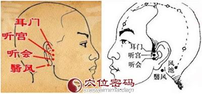 耳門、聽宮、聽會穴道按摩經絡圖解 | Source:xueweitu.iiyun.com