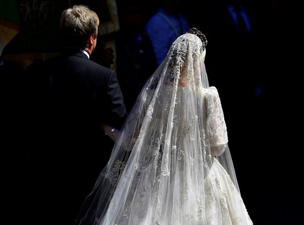 Pierre Casiraghi, Beatrice Borromeo, Charlotte Casiraghi, Princess Alexandra, Tatiana Santa Domingo, Prince Christian and Alessandra de Osma at wedding cremony. wedding gown