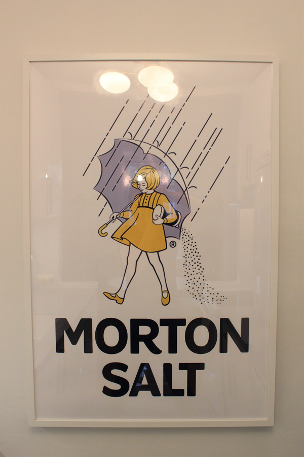 Morton Salt Logo as art in the kitchen