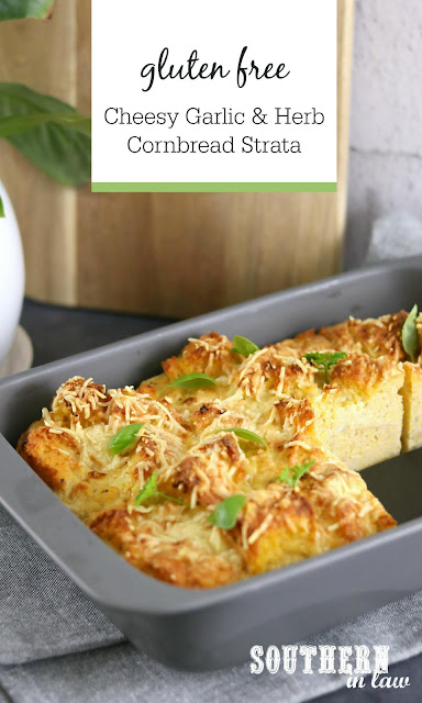 Gluten Free Cheesy Garlic and Herb Cornbread Strata Casserole Recipe –  vegetarian, brunch, breakfast, meal prep, easter, thanksgiving recipes
