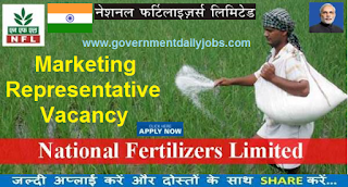 Recruitment of Marketing Representative in National Fertilizers Limited