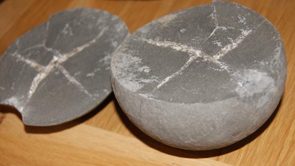 Crystal lines inside Charmouth rocks