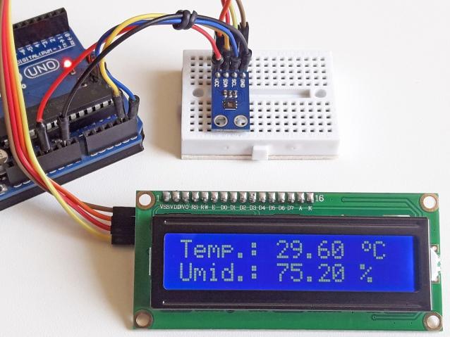 Sensor de temperatura HDC1080 com Arduino e display LCD 16x2