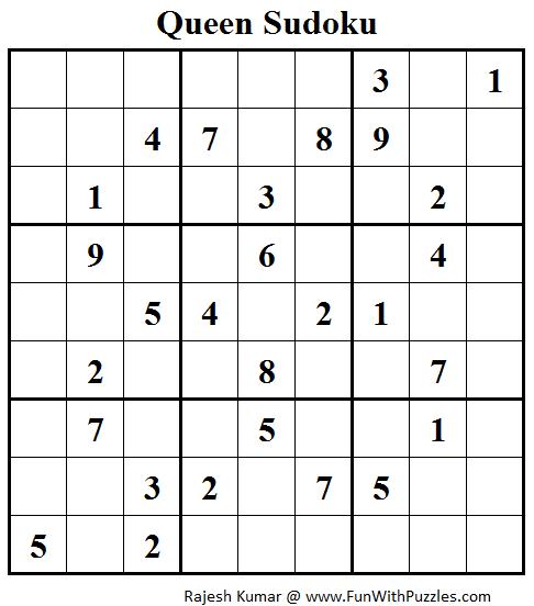 Queen Sudoku (Daily Sudoku League #122)