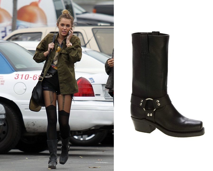 Miley Cyrus Loves Her Frye Harness 12r Biker Boots