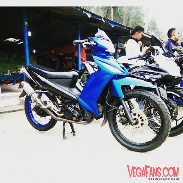 Modifikasi Vega RR Biru Hitam Modif Road Race