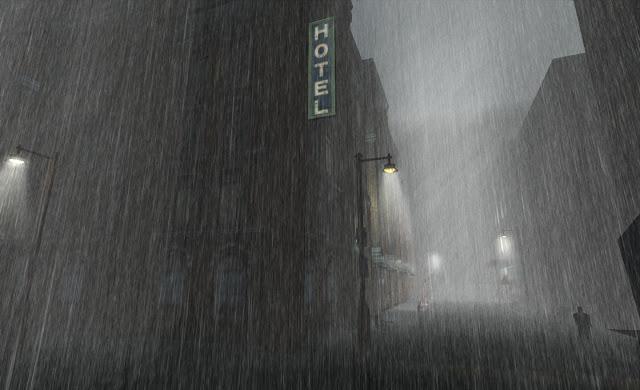 Grey raining street scene