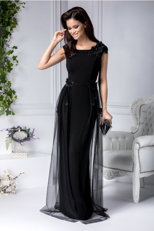 Rochie  2XL, 3 XL, 4XL eleganta de seara lunga neagra cu flori 3D si voal