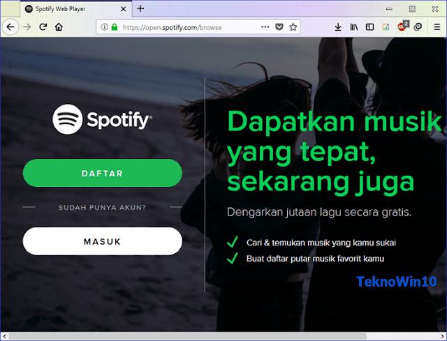 Cara mendengarkan music streaming Spotify hanya dengan web Browser