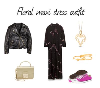 sukienka w kwiaty Zara floral dress outfit Furla Metropolis Gold, Converse, WKruk fashion blogger