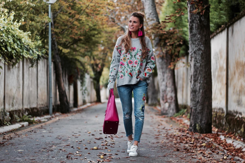 jersey bordado flores zara