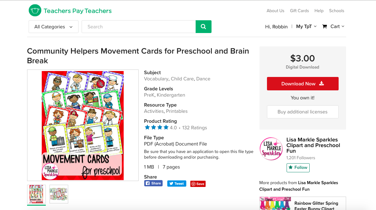 Screen shot of the Teachers Pay Teachers store where you can buy the movement cards