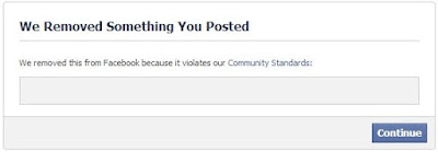 Facebook - We removed something you posted