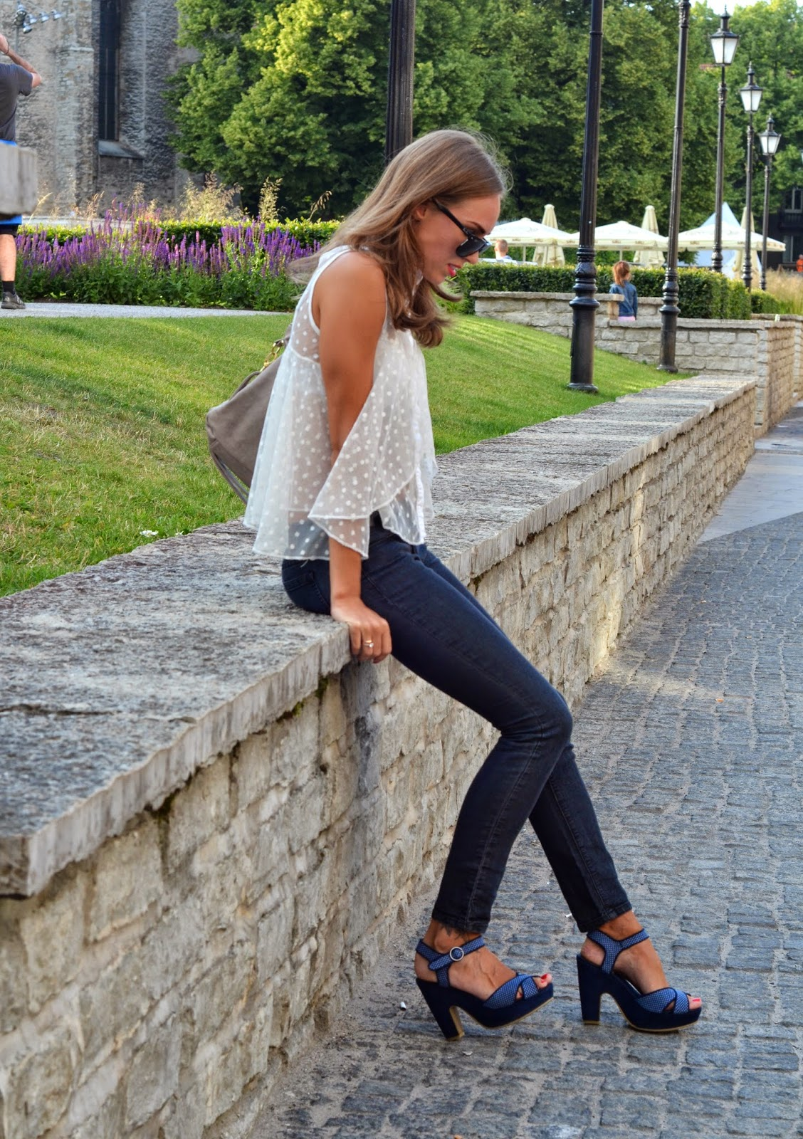 asos dotted white shirt vox blue heels