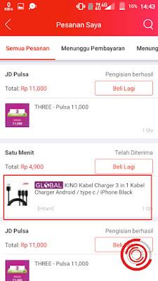 Kemudian pilih pesanan yang ingin kalian lacak di aplikasi JD.id