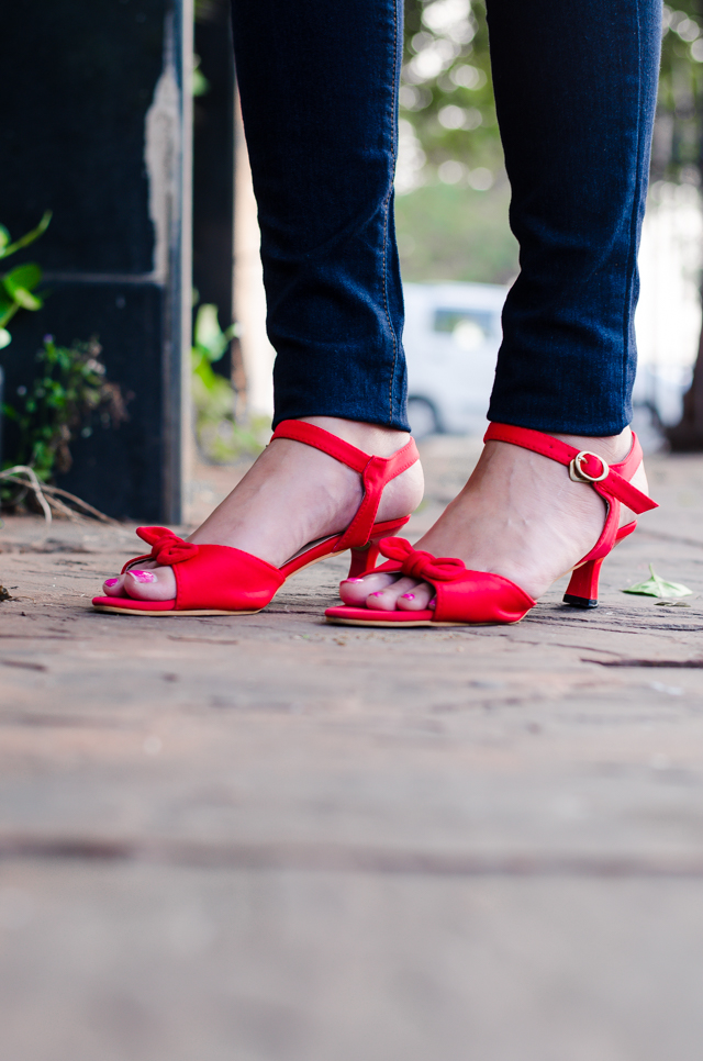 red bow kitten heels