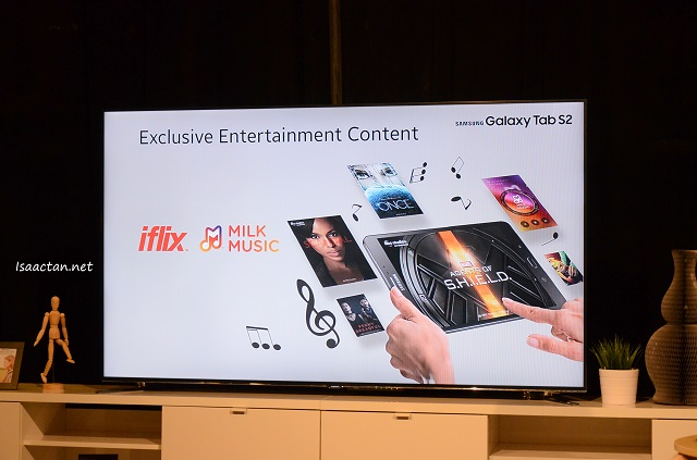 iflix and Samsung Milk Music comes pre-loaded in the new Galaxy Tab S2