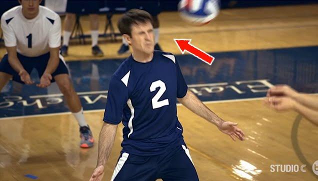 Scott Sterling amazing face volleyball blocks