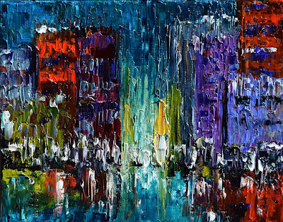 Street Scene Painting Cityscape Art Abstract Paintings by Debra Hurd