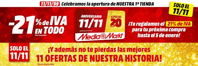 Top 5 ofertas Aniversario 11-11. Especial 20 años  de Media Markt