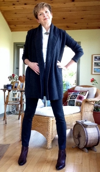 Vince coat sweater, Judith and Charles cropped pants, Elie Tahari blouse, Paul Green boots