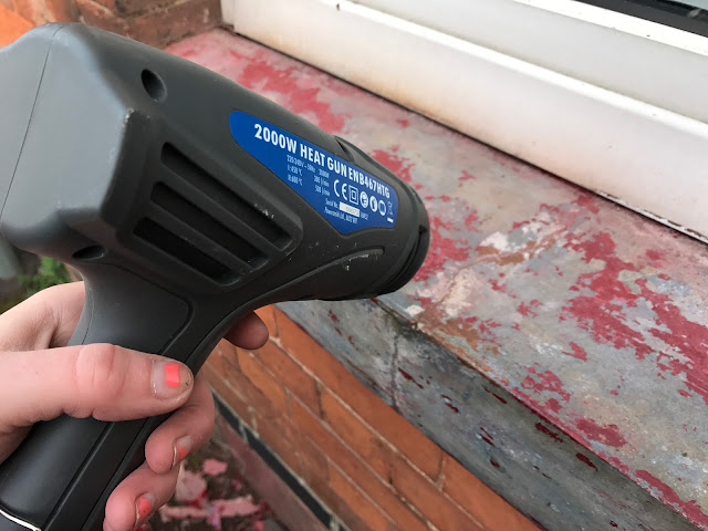 using a heat gun to strip outside window sill