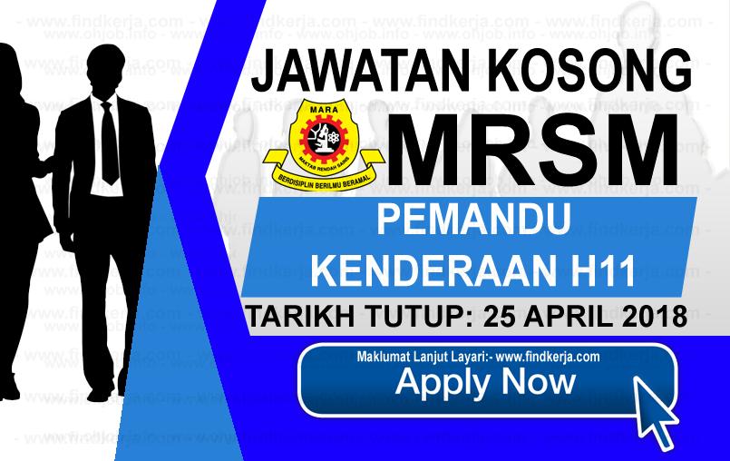 Jawatan Kerja  Kosong MRSM - Maktab Rendah Sains MARA logo www.findkerja.com april 2018