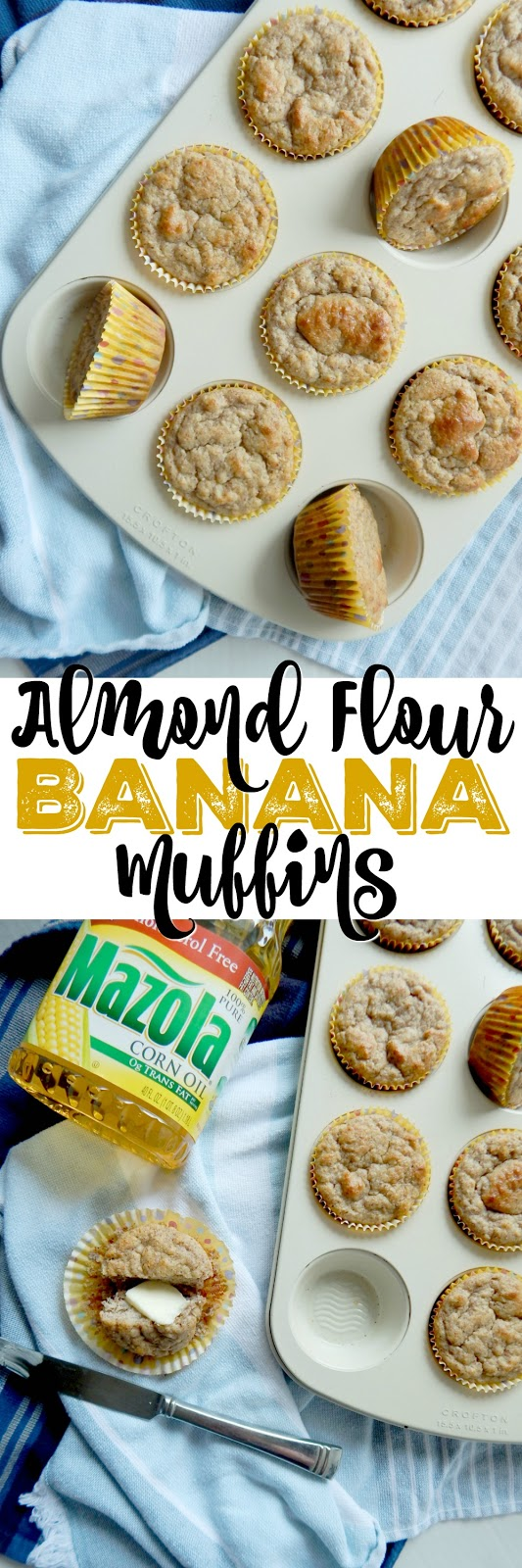 Almond Flour Banana Muffins...a few swaps {corn oil, Greek yogurt, cinnamon applesauce, almond flour} make this healthier muffin an easy grab-n-go option on busy weekday mornings! #ad #MakeItMazola #simpleswap #CollectiveBias (sweetandsavoryfood.com)