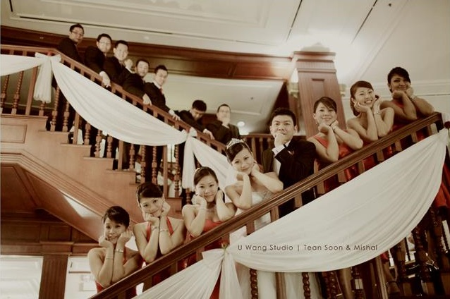 stair case bridal entourage