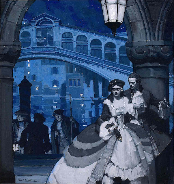 a Mead Schaeffer illustration of dangerous lovers in Venis at night