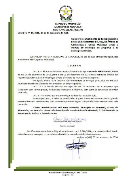 Prefeitura de Anapurus decreta ponto facultativo para esta sexta-feira 09