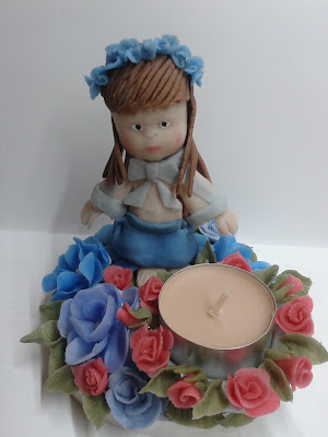 świecznik, zimna porcelana, lalka