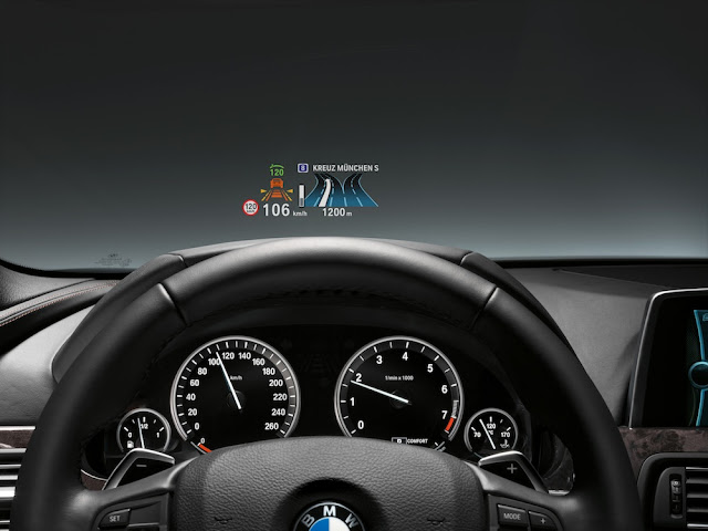 GPS HUD display in BMW