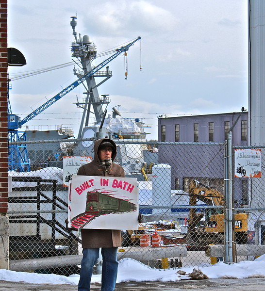 Bath Iron Works : Organizing notes standing at bath iron works