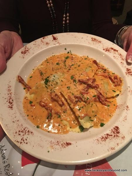 artichoke ravioli at Adam's Restaurant in Willits, California