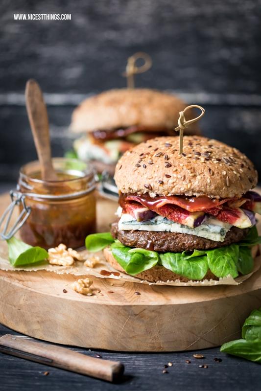 Herbst Burger Rezept mit Gorgonzola, Feigen, Walnusspesto und Butcher's Burger Patty