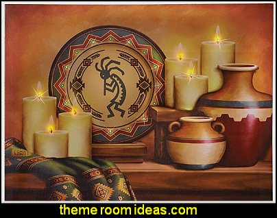 Southwestestern Lighted Kokopelli Wall Art  wolf theme bedrooms - Santa Fe style - wolf bedding - Tipis, Tepees, Teepees - Decal sticker wolf - wolf wall mural decals - birch tree branches - cactus decor