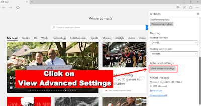Microsoft Edge - view advanced settings